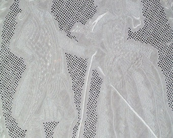 """1900 Figural APPENZEL Tablecloth Linen Punchwork and Embroidery 122"""" X 68"""""""