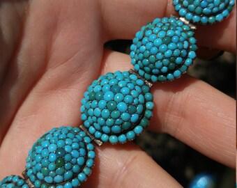 Georgian Turquoise Pave Seeds Persian Victorian Bracelet