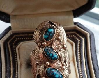 14k Gold Old Lander Blue Turquoise Designer Sigh NAVAJO Ring Unique One Of A Kind
