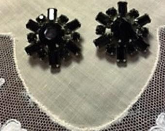 Weiss Vintage Black Rhinestone Earrings...FREE SHIPPING
