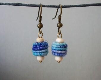 Cute simple yarn bead earrings shabby chic blue white
