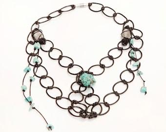 Turquoise semiprecious stones necklace