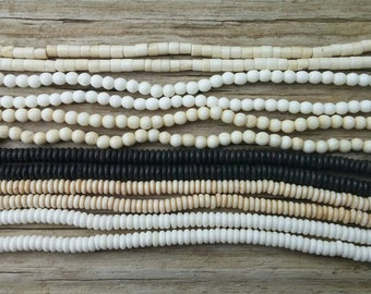 6 Strands of 4mm Bone Beads, 16 Inch Strands