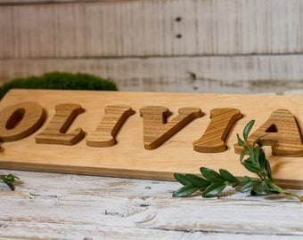 Wooden Name Puzzle | Natural Organic Personalized Toy | Baby and Toddler Unique Gift | Custom Letters Montessori Stacker Toy | Cherry Wood