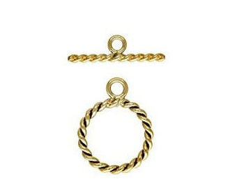 11.4mm Gold Filled Twisted Toggle Clasp 14kt.