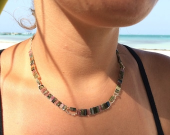 Rainbow Tourmaline Sterling Silver Ladder Necklace