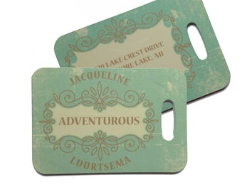 Personalized Vintage Green Designed #OneWord Luggage Tag