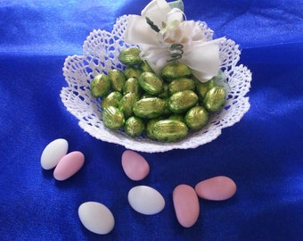 Sugared almonds or chocolates made crochet basket
