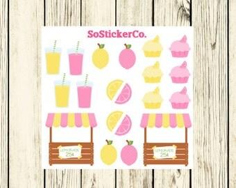 Pink Lemonade Stand Stickers, Summer Stickers, Lemonade, Fresh Lemons, Stickers for ECLP, Stickers for Erin Condren Life Planner #DC00