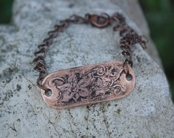Copper etched bracelet - Edelweiss