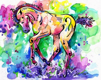 "Watercolour Horse Foal art print - ""Dancing in the Rain"""