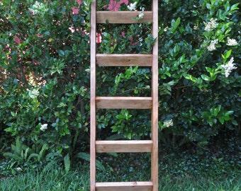 6 ft Rustic Leaning Shelf, Ladder Shelf, Wood Leaning Ladder Shelf