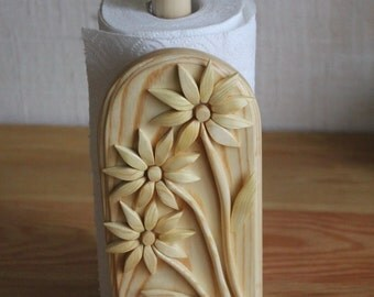 Wooden Paper Towel Holder, Paper Roll Holder, Wooden Kitchen Utensils, Holder