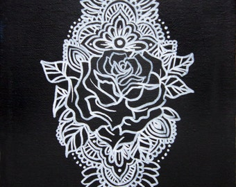Black and White Rose Mandala Original Acrylic Painting on Gallery Wrapped Canvas Art by Breanna Deis