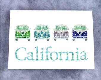 Sea Glass California Surfer Vans Note Card - Blank