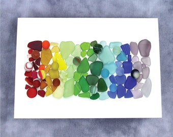 Sea Glass and Sea Marbles Rainbow Note Card - Blank