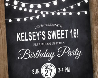 Sweet 16 Birthday Party Invitation Chalkboard String Lights - Printed and Printable