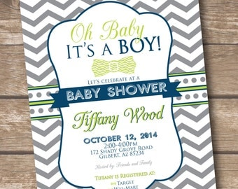 Oh Baby It's a Boy - Blue and Green Baby Shower Invitation - Printed and Printable