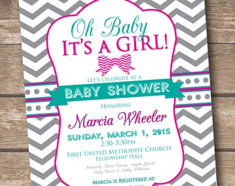 Oh Baby It's a Girl - Baby Shower Invitation - Printed and Printable