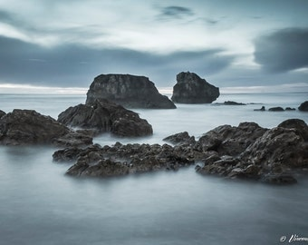 Serenity. Color photograph of the beach of Ilbaritz in Biarritz. Fine art photography