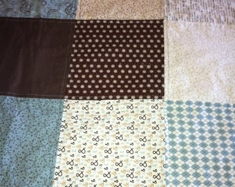 Teal & Brown block quilt