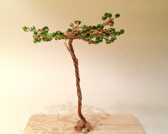 Green Zen Tree-Wire and Bead