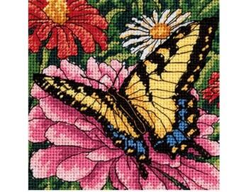 "Needlepoint Kit - Dimensions - Mini Kits - 5"" x 5"" - Butterfly On Zinnia - Flowers - #07232"