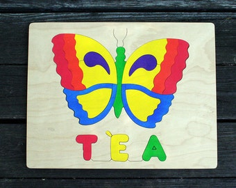 Butterfly Picture Name Puzzles, Handmade, Wooden Name Jigsaw Puzzles
