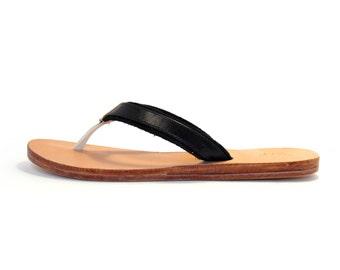 Black Leather Thong Sandal