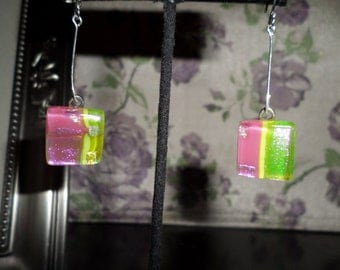 Pink, yellow and green glass drop earrings