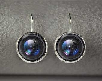 Camera lens earings,  Photographer earrings,  Lens earrings