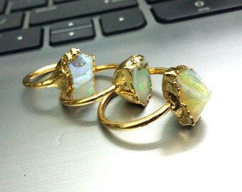 Raw Opal Electroformed Ring,Opal Ring