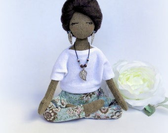 Yoga doll Soft sculpture Yogini rag doll Fabric collectible doll Textile doll Norah
