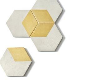 HEX Gold Concrete Coaster