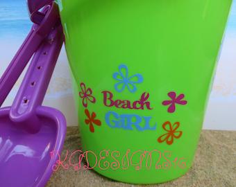 Beach Girl Sand Bucket Pail Beach Customized Name Party Birthday Favor