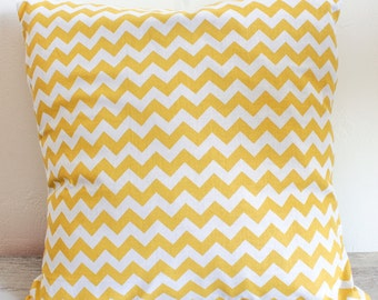 Cushion cover handmade yellow curry chevron patterned