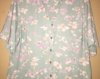 Baby Blue Floral Blouse