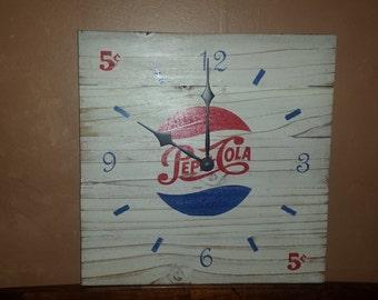 Handmade Pepsi clock. Free USA T-shirt