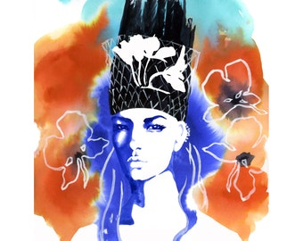 Fashion Illustration, Limited Edition Art Print, Watercolor Art, Mixed Media, Watercolor Fashion, Fashion Art