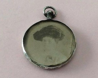 Antique Stirling Silver Double Photo Locket - 1906 with original photos
