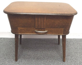 Retro 1940's 50's MORCO Dark WOODEN Sewing Box Table Storage Stool