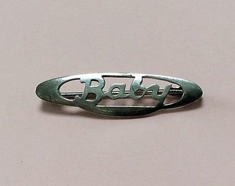 Antique Art Deco Sterling Silver Baby Name Brooch Pin 1920