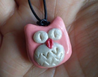 Owl Necklace, Owl Necklace Jewelry, Polymer Clay Necklace, Polymer Clay Jewelry, Polymer Clay Pendant, Owl Pendant, Necklace, Owl, Pink