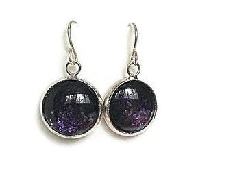 Purple Earrings, Nail Polish Earrings, Glitter Earrings, Sparkly Earrings, Nailpolish Earrings, Purple Glitter, Boho Earrings, Amethyst