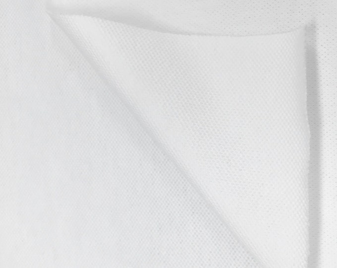 Cotton Pique with Spandex (Wholesale Price Available By the Bolt) USA Made Premium Quality - 7271 White - 1 Yard