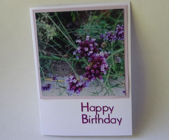 Birthday Card with Pink and Purple Flowers - #563