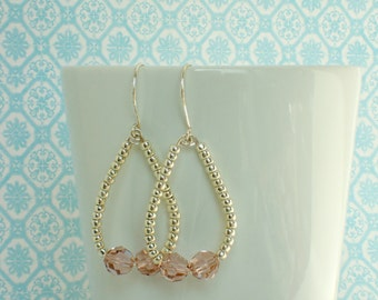 Swarovski Crystal and Silver Beaded Drop Earrings