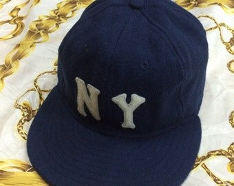 Vintage 80 90 Ebbet Field NY Wool Hat Size7 1/4 made in USA