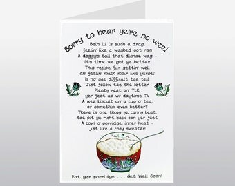 Get Well Soon Card Porridge WWGW06