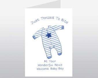 Baby Card Babygro Blue WWBA01
